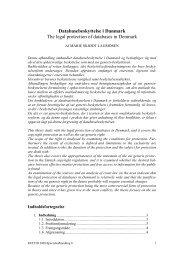 Databasebeskyttelse i Danmark The legal ... - Juridisk Institut