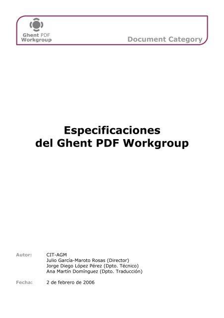 Especificaciones del Ghent PDF Workgroup - Ghent Workgroup