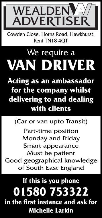 VAN DRIVER - The Wealden Advertiser