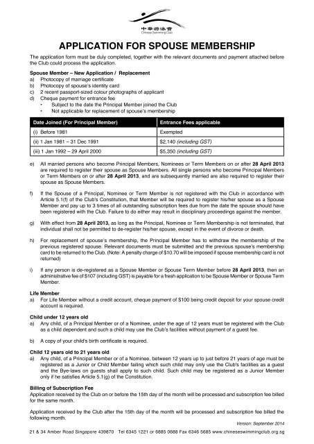 Application Form for Spouse Membership - Chinese Swimming Club