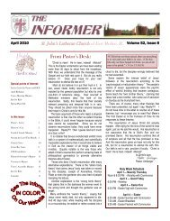 The Informer: April 2010 - St. John's Lutheran Church