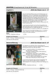 GRUPPEN: Erwachsene ab 15 bis 50 Personen - Glasmuseum ...