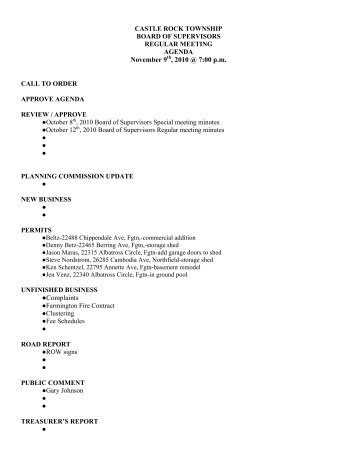 November 9th 2010 meeting agenda.pdf - Castle Rock Township