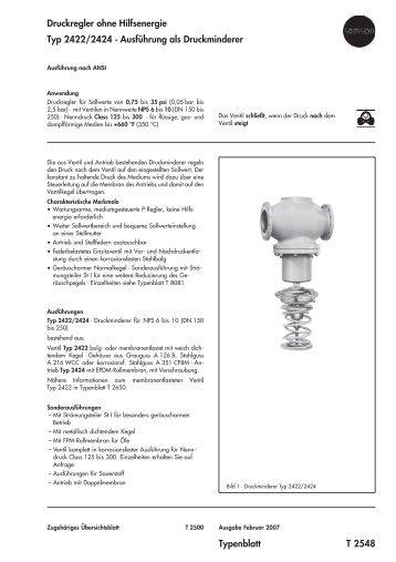 Ausführung als Druckminderer Typenblatt T 2548