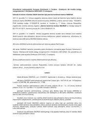 Pranešimas vadovaujantis Europos Parlamento ir Tarybos ... - Snoras