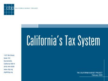 California's Tax System - California Budget Project