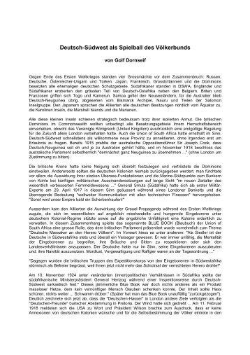 Deutsch-Suedwest als Spielball des Völkerbunds - Golf Dornseif
