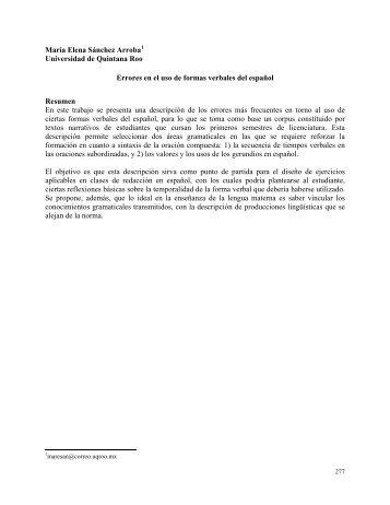 errores en el uso de formas verbales del espaol - Universidad de ...