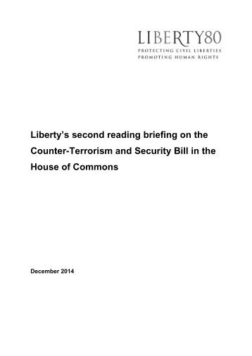 Liberty's Second Reading Briefing on the Counter-Terrorism & Security Bill in the House of Commons