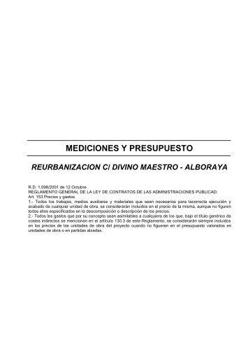 mediciones y presupuesto reurbanizacion c/ divino maestro - Alboraya