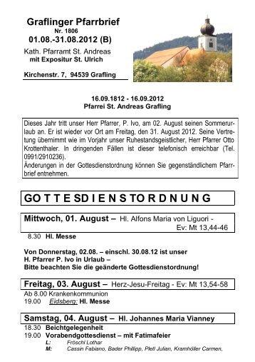 August 2012 - Pfarrei St. Andreas in Grafling