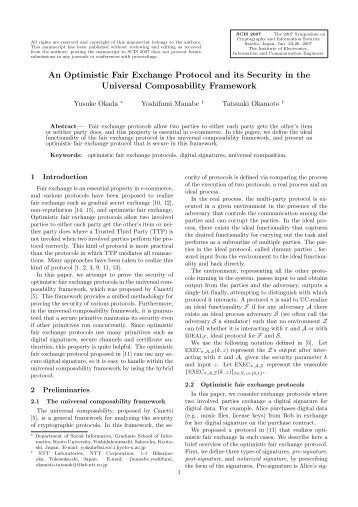 An Optimistic Fair Exchange Protocol and its Security in the ...