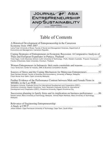 Vol V, Issue 3, December 2009 - Journal of Asia Entrepreneurship ...