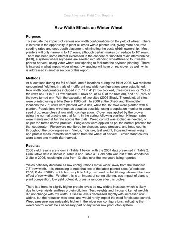 Row Width Effects on Winter Wheat - Ontario Soil and Crop ...