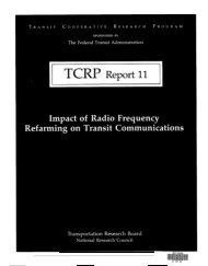TCRP Report 11, Impact of Radio Frequency Refarming on Transit ...