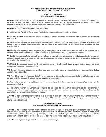 1 LEY QUE REGULA EL REGIMEN DE PROPIEDAD EN ...
