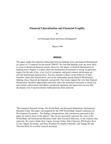Financial Liberalization and Financial Fragility - CiteSeerX
