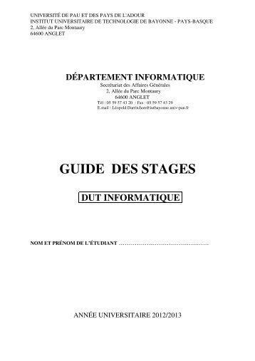 Guide et fiches de suivi des stages 2012-2013 - IUT Bayonne