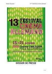 Le dossier de presse du 13 e édition du Festival du Cinéma ...