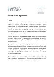 Share Purchase Agreements - Lavelle Coleman