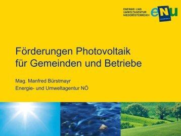 Förderungen für Photovoltaik für Gemeinden und Betriebe