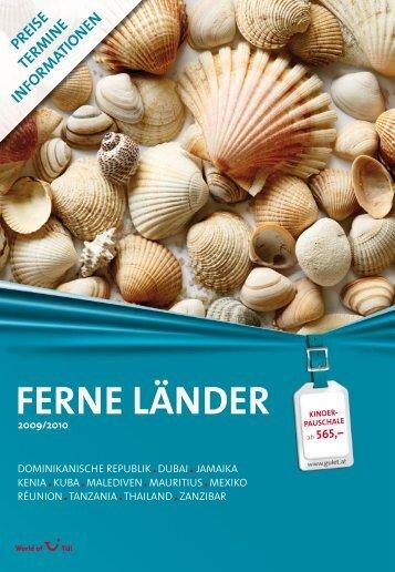 """Preisteil des Katalogs """"Ferne Länder Winter 2009/10 - Gulet Touristik"""