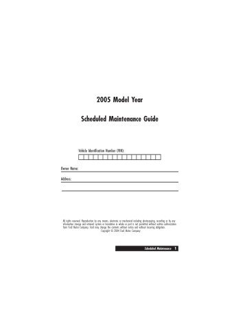 2005 Model Year Scheduled Maintenance Guide - Ford Focus ...