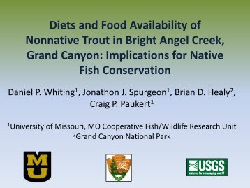 Healy, Diets and Food Availability of Nonnative trout in Bright Angel ...