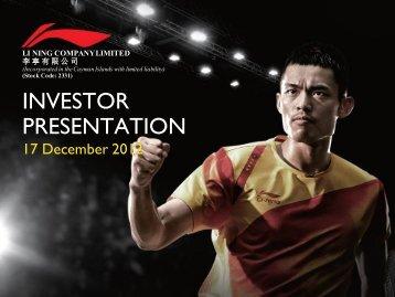 Investor Presentation - Li Ning