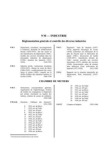 9 M – INDUSTRIE - Archives départementales Corrèze
