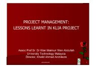 PROJECT MANAGEMENT: LESSONS LEARNT IN KLIA PROJECT