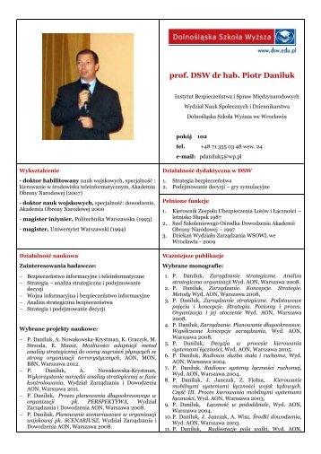 prof. DSW dr hab. Piotr Daniluk - Dolnośląska Szkoła Wyższa