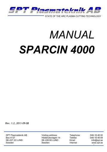 MANUAL SPARCIN 4000 - SPT Plasmateknik AB