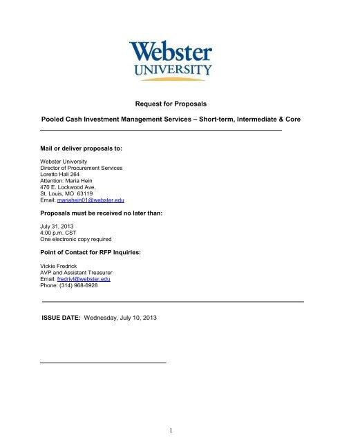 Webster University Cash Investment Management Services RFP
