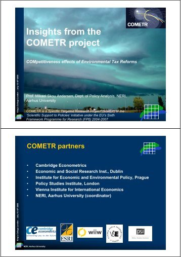 Insights from the COMETR project - pETRE
