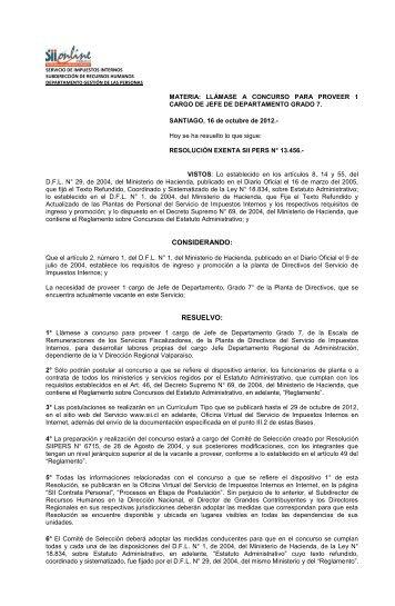 Resolución Exenta SIIPERS N°13456 del 16 de Octubre del 2012