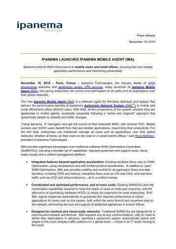IPANEMA LAUNCHES IPANEMA MOBILE AGENT (IMA)