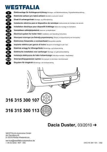 316 315 300 107 316 315 300 113 Dacia Duster, 03/2010