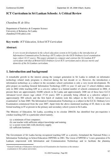 ICT Curriculum in Sri Lankan Schools: A Critical Review 1 ... - ICL