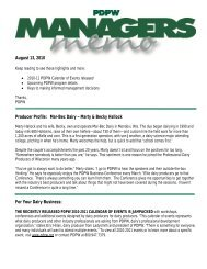 PDPW Managers Memo ~ August 13, 2010 (pdf) - Professional Dairy ...