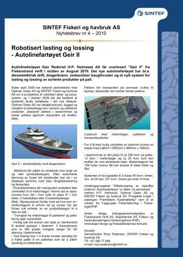 Robotisert lasting og lossing - Autolinefartøyet Geir II - Sintef