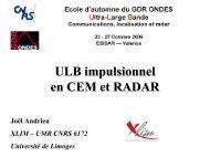 ULB en CEM et Radars (séminaire) (J. Andrieu, Xlim) - gdr ondes
