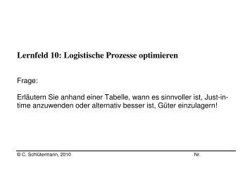 Supply chain management: Lernfeld 10 logistische prozesse