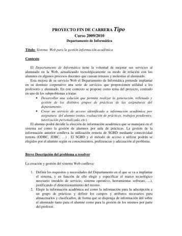 Proyecto Tipo para el curso 2009/2010 - Departamento de Informática