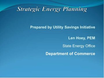 Strategic Energy Planning - Department of Energy