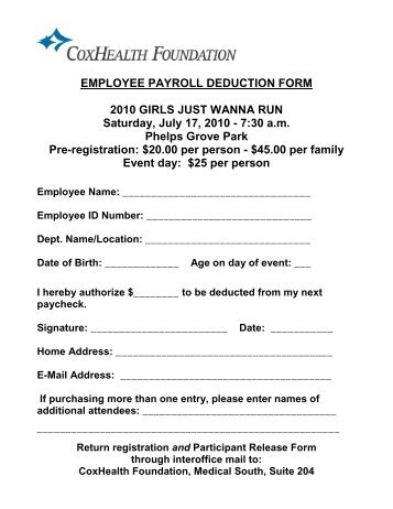 Authorization For Payroll Deduction And Order Form Mghs Clothing And