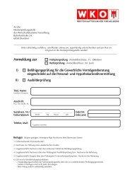 Vermögensberatung eingeschränkt - Wirtschaftskammer Vorarlberg