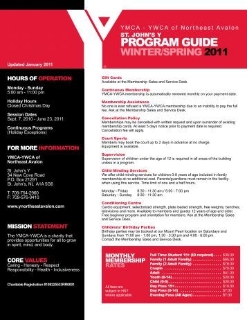 PROGRAM GUIDE - the YMCA of Northeast Avalon