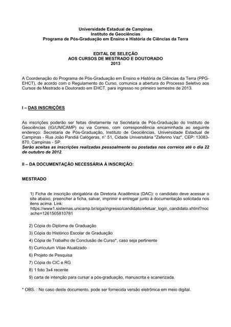 Carta De Apresentação Mestrado Unicamp