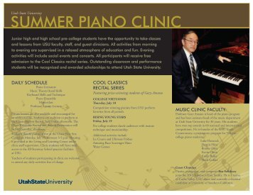 SUMMER PIANO CLINIC - Music Department - Utah State University
